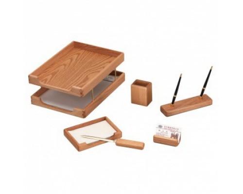 Набор настольный подарочный деревянный 6 предметов Good Sunrise Дуб светло-коричневый