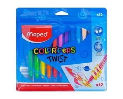 Мелки восковые 12 цветов COLOR'PEPS TWIST выкручивающиеся