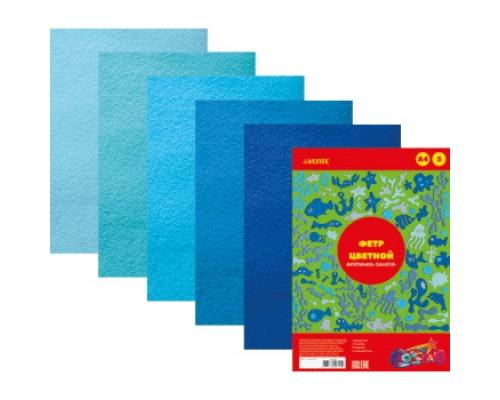 Фетр 5 листов 5 цветов deVENTE Оттенки синего толщина 2 мм