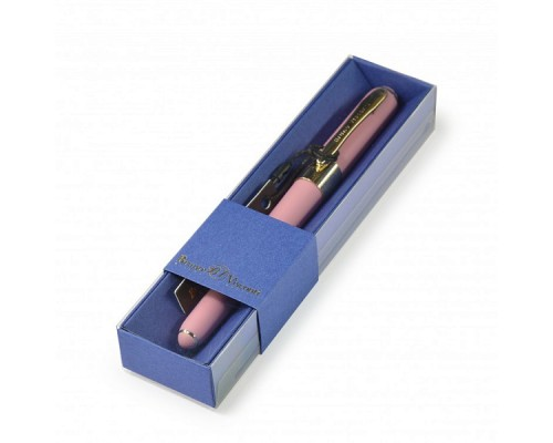 Ручка подарочная MONACО 0.5мм СИНЯЯ (розовый корпус, синяя коробка)