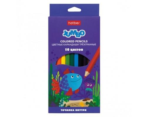 Карандаши цветные 10 цветов Hatber утолщен.трехгранн.корпус JUMBO серия