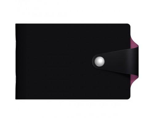 Визитница 12 карманов VIVELLA BICOLOUR Черный/сиреневый с кнопкой